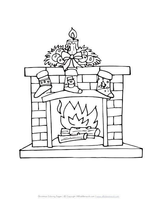 Christmas Fireplace Drawings  fireplace with stockings coloring page