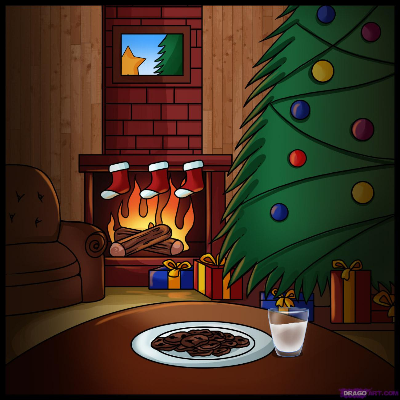 Christmas Fireplace Drawings  How to Draw a Christmas Scene Step by Step Christmas