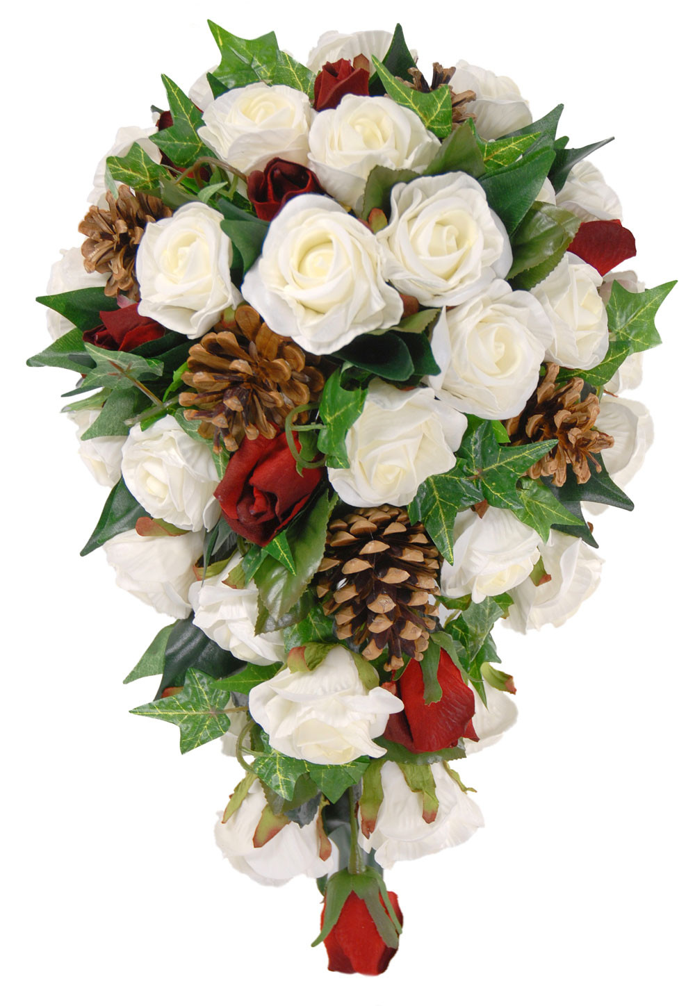 Christmas Flower Bouquets  Christmas Bridal Shower Bouquet with Ivory Roses Red Bud