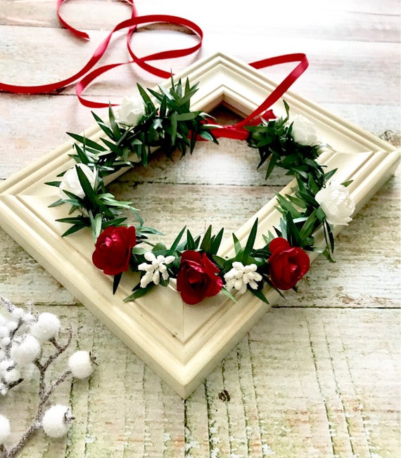 Christmas Flower Crown  Child Flower Crown Winter Frosted Berries Christmas Flower