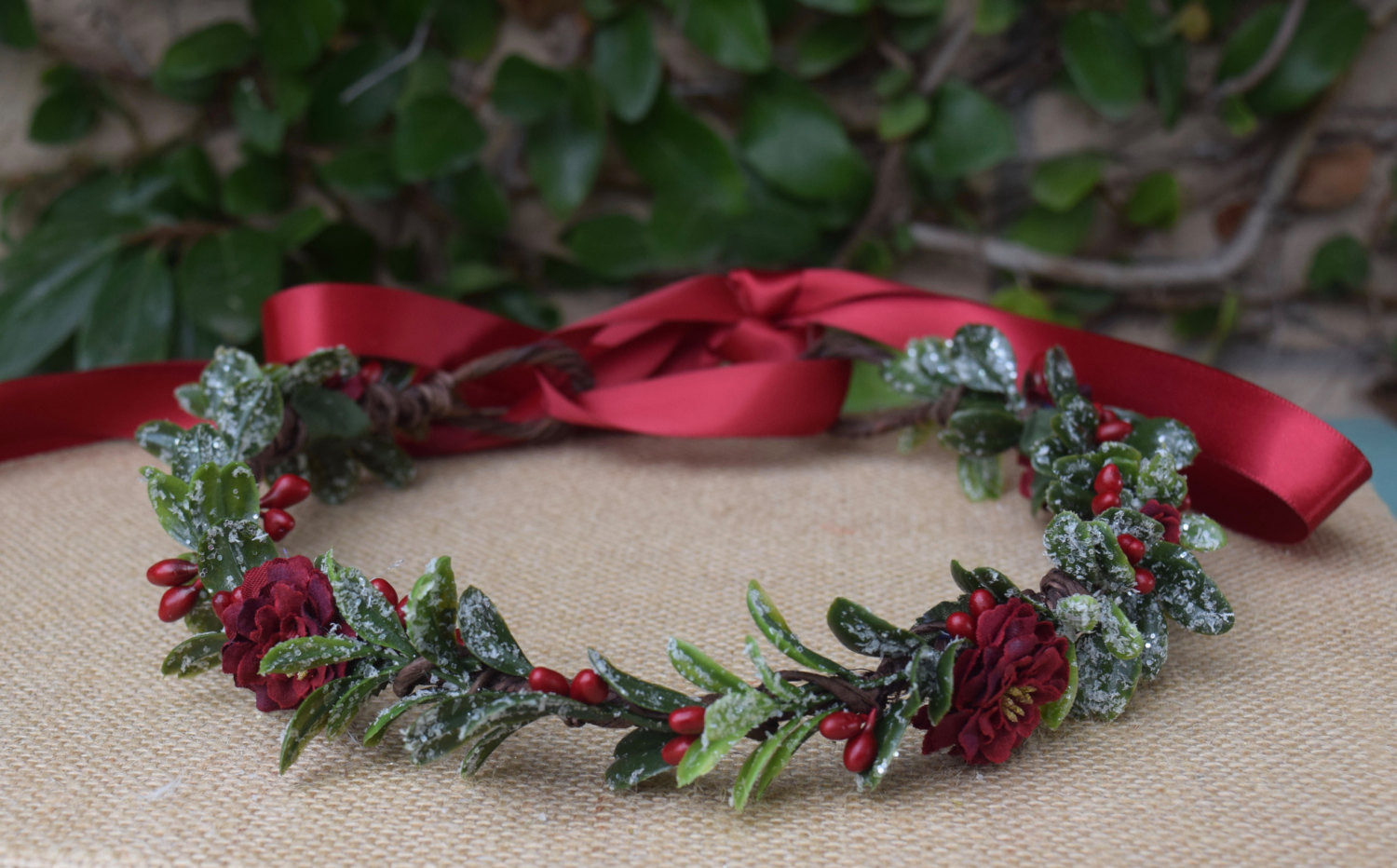 Christmas Flower Crown  Christmas Flower Crown in Snowy Green & Red by BohoHalo pany