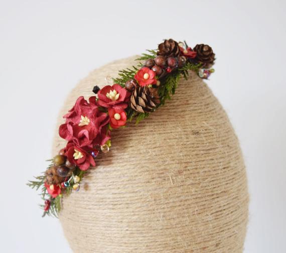 Christmas Flower Crown  Christmas Flower Crown flower headband winter wedding