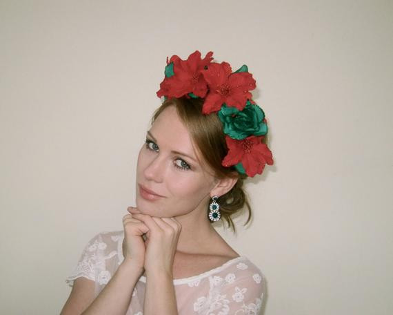 Christmas Flower Crown  Items similar to Christmas Red Green Flower Crown