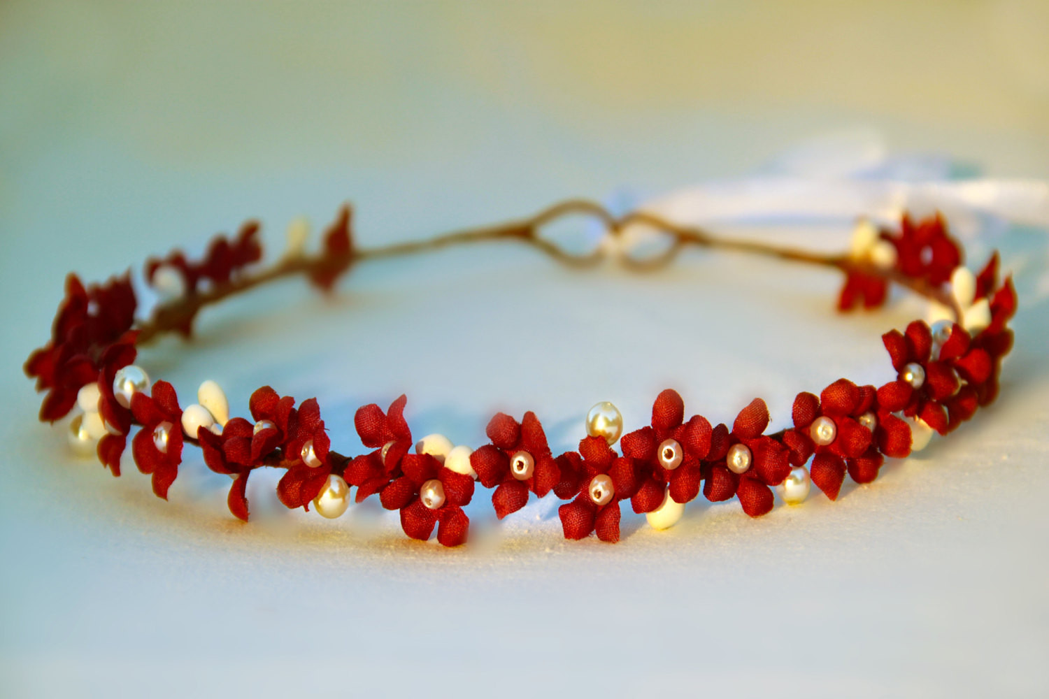 Christmas Flower Crown  red flower crown girl christmas halo holiday flower by