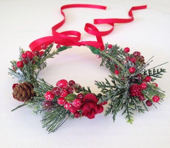 Christmas Flower Crown  Christmas Flower Crown Holiday Flower Crown Cranberries