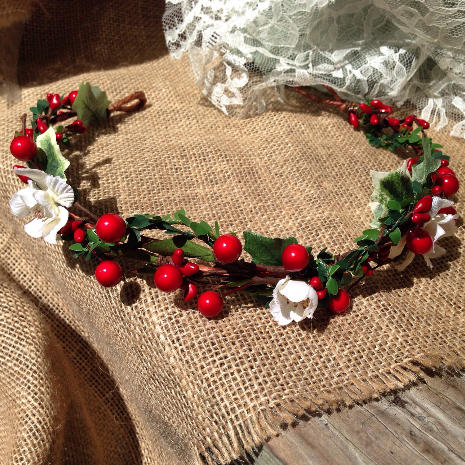 Christmas Flower Crown  Christmas flower crown winter bridal crown holly berry