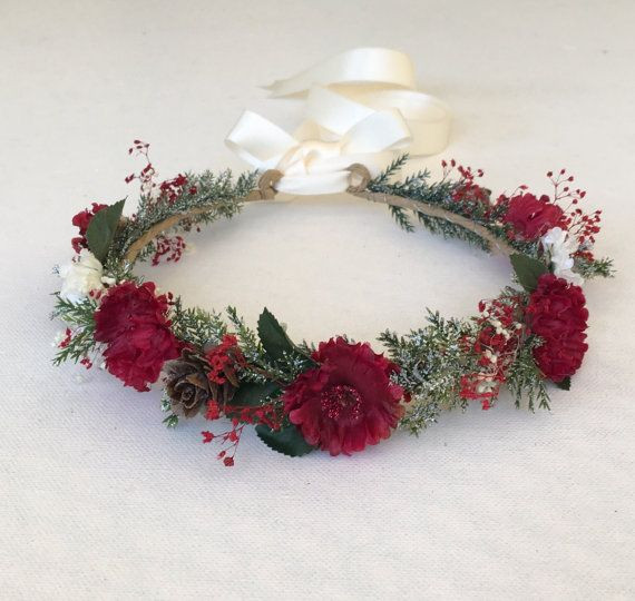 Christmas Flower Crown  25 best ideas about Red flower crown on Pinterest