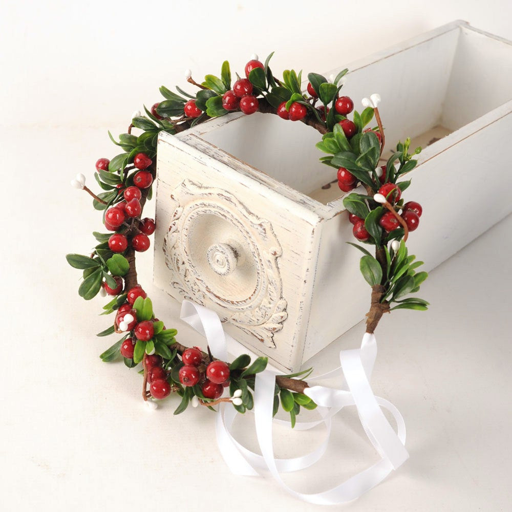 Christmas Flower Crown Lovely Holiday Headpiece Christmas Flower Crown Festive by