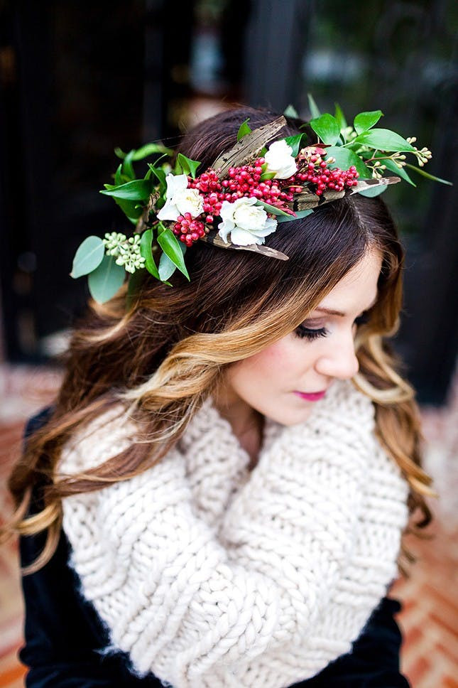 Christmas Flower Crown  11 Beautiful Winter Flower Crowns for Your Wedding