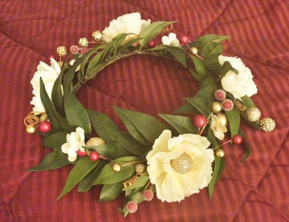 Christmas Flower Crown  Holiday Flower Crown Christmas Head Wreath Winter Wedding