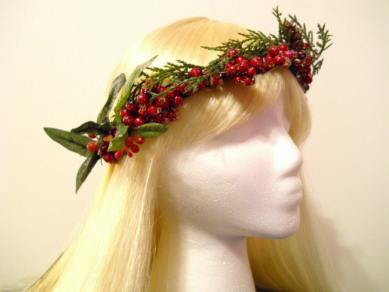 Christmas Flower Crown  Flower Crown Head Wreath Christmas Holiday by MyFairyJewelry