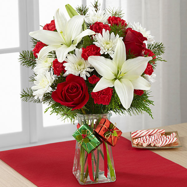 Christmas Flower Delivery Usa  Joyous Holiday Bouquet Gift Basket Delivery