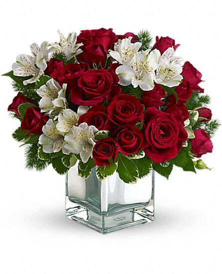 Christmas Flower Delivery Usa  Have yourself a modern little Christmas with red roses and