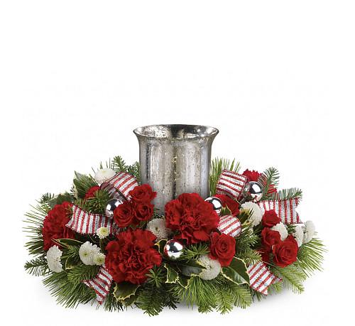 Christmas Flower Delivery Usa  Teleflora Christmas Centerpieces · TWR10 3 CC14TA