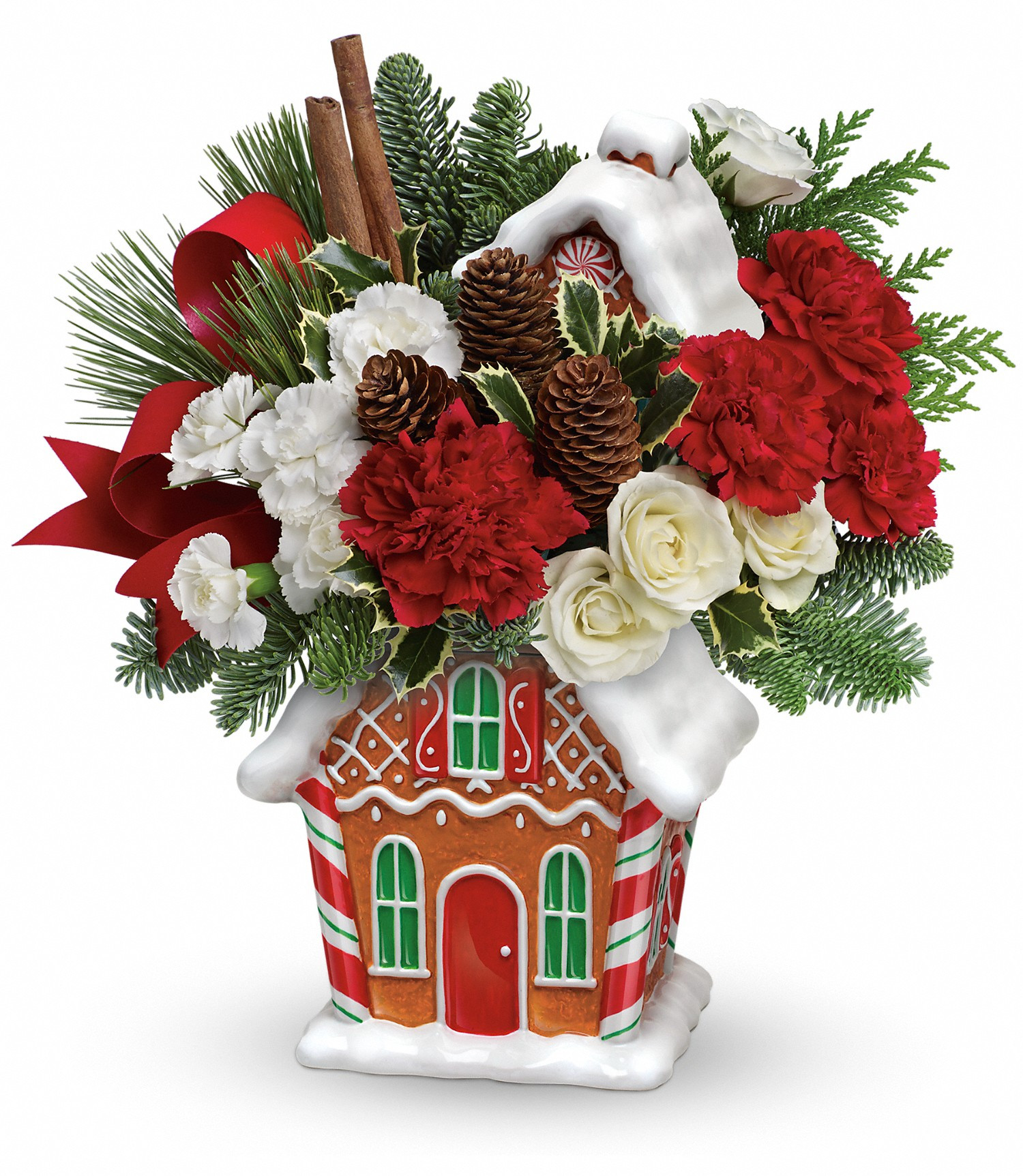 Christmas Flower Delivery Usa  Teleflora s Gingerbread Cookie Jar Bouquet