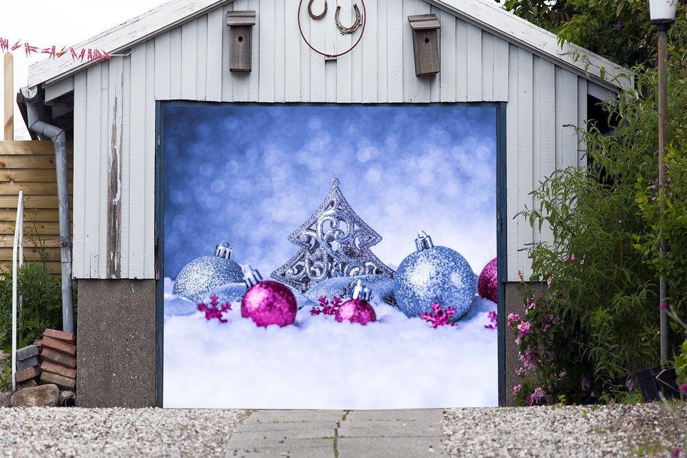 Christmas Garage Door Covers  Merry Christmas Decor Single Garage Door Covers Banner 3D