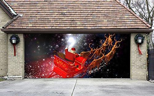 Christmas Garage Door Covers  Christmas Garage Door Cover Banners 3d Santa In A Sleigh