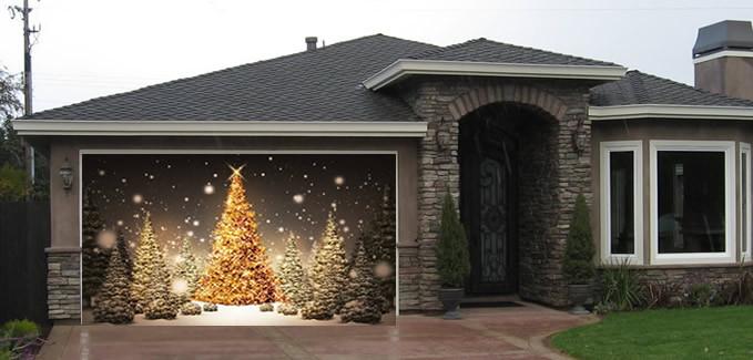 Christmas Garage Door Covers  Christmas Tree Garage Screen