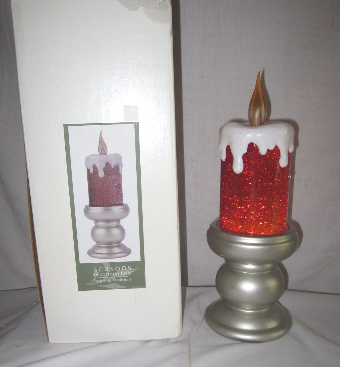 "Christmas Lava Lamp  SEASONS OF CANNON FALLS 12"" Christmas Candle Glitter Lava"