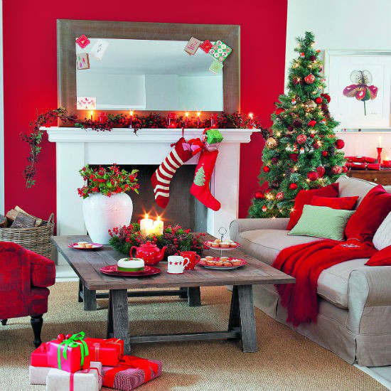 Christmas Living Room Ideas  33 Best Christmas Country Living Room Decorating Ideas