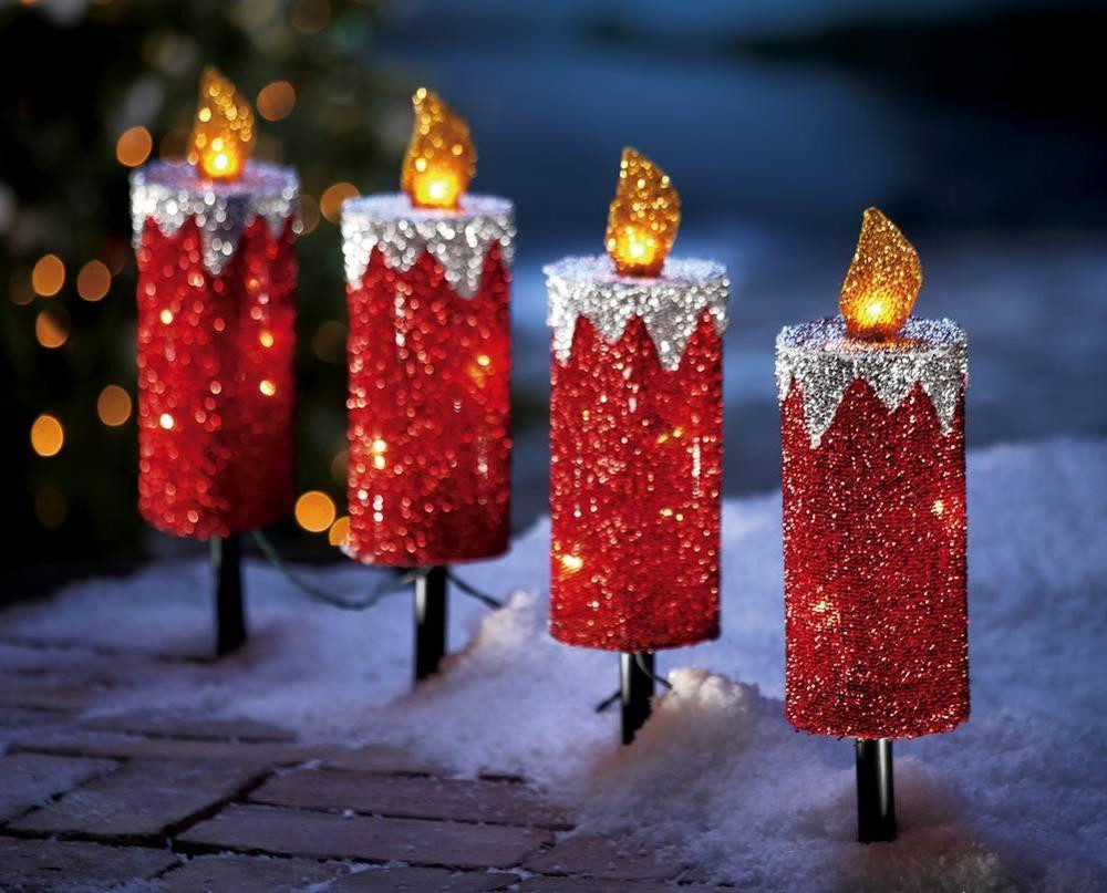 Christmas Path Lights Unique Red Glitter Holiday Candle Outdoor Christmas Path Light