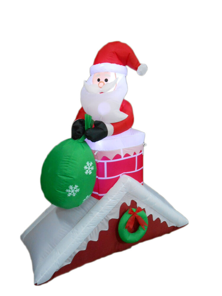 Christmas Rooftop Decorations  Christmas Inflatable Santa Claus Chimney Roof Light Yard