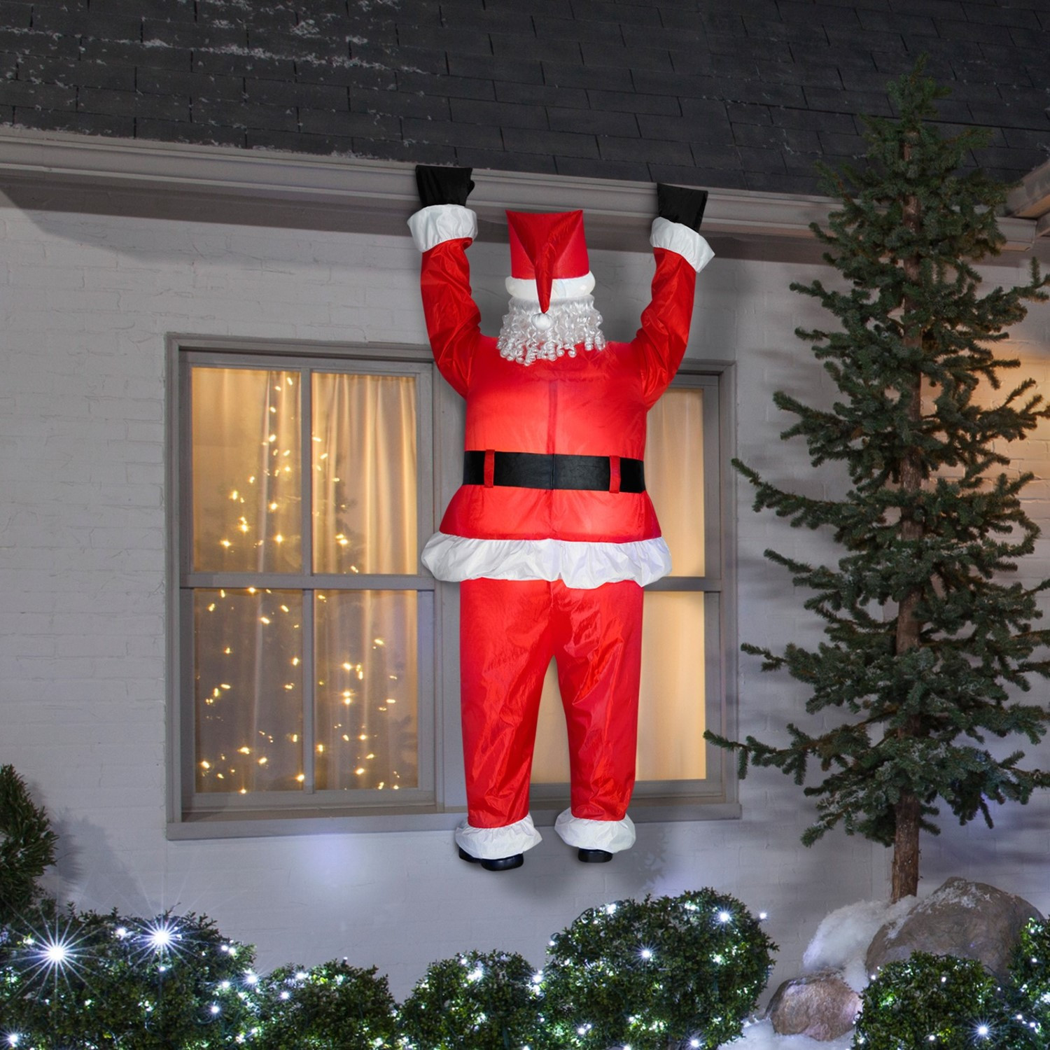 Christmas Rooftop Decorations  Santa Hanging From Roof Airblown