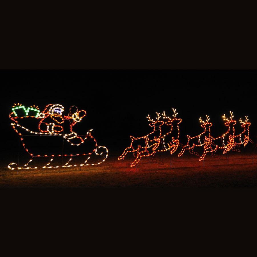 Christmas Rooftop Decorations  Animated LED Santa Sleigh & 5 Reindeer Display 30 W