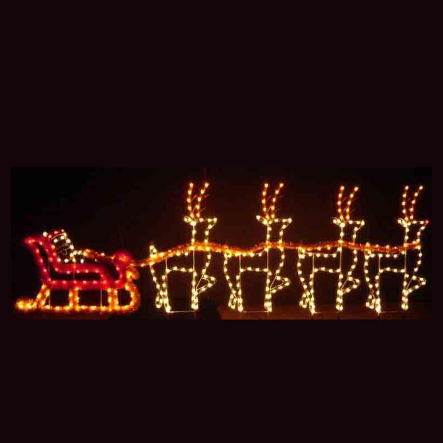 Christmas Rooftop Decorations  Holiday Dreams Santa Sleigh LED Light Display 30
