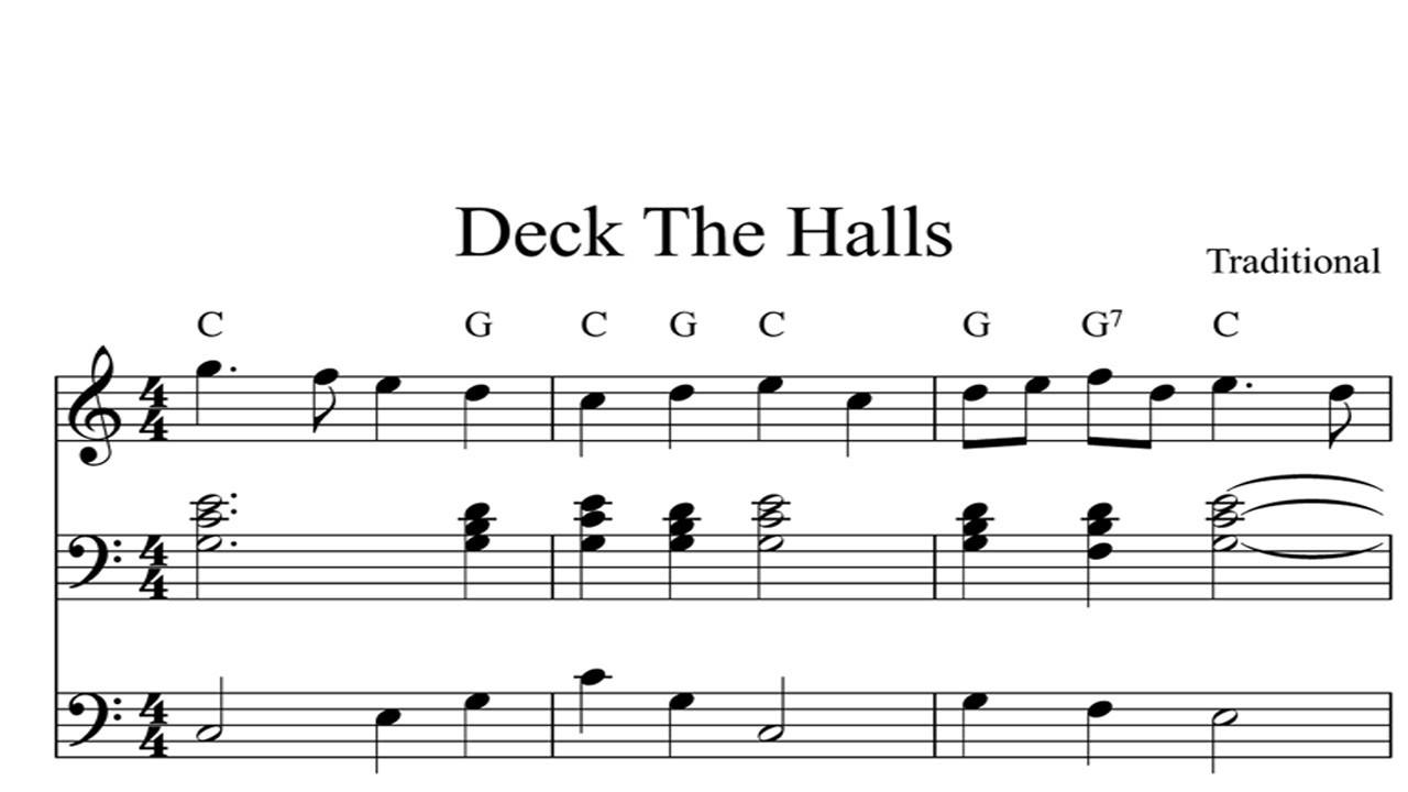 Christmas Songs Deck The Hall  Deck The Halls CHRISTMAS SHEET MUSIC Piano Organ