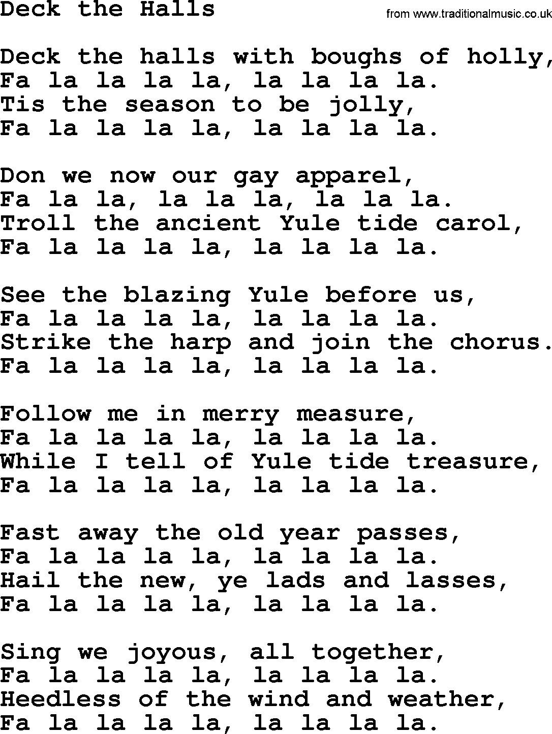 Christmas Songs Deck The Hall  Christmas Hymns Carols and Songs title Deck The Halls