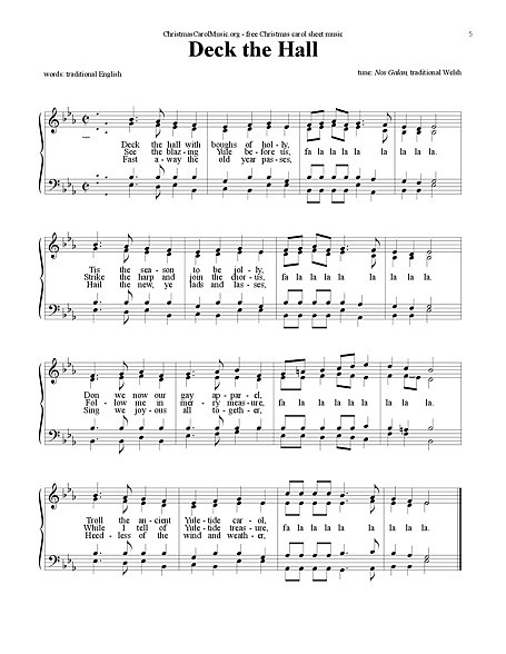 Christmas Songs Deck The Hall  Deck the Halls Voice SATB Sheet music Cantorion