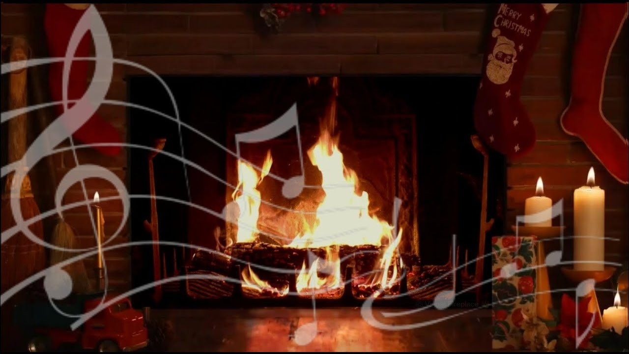 Christmas Songs With Fireplace  Cozy Yule Log Fireplace with Crackling Christmas Music