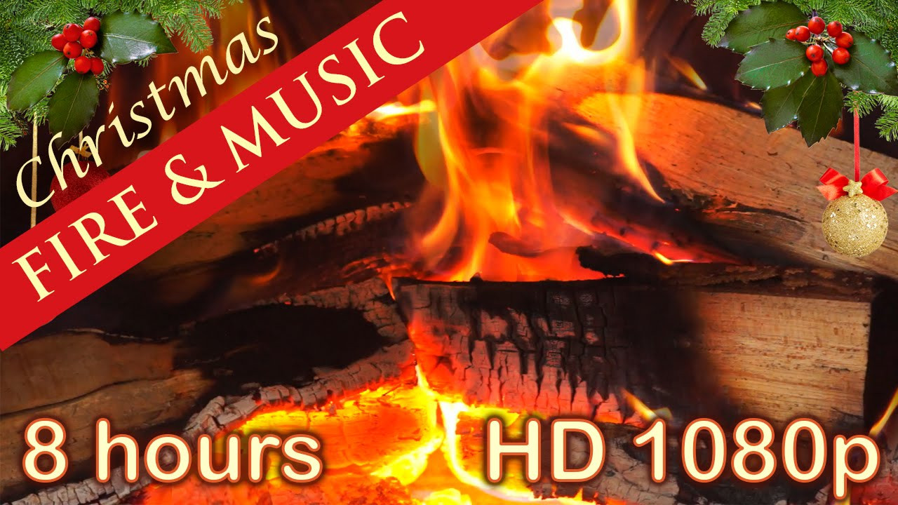Christmas Songs With Fireplace  8 HOURS ☆ CHRISTMAS MUSIC with FIREPLACE ♫ Christmas Music
