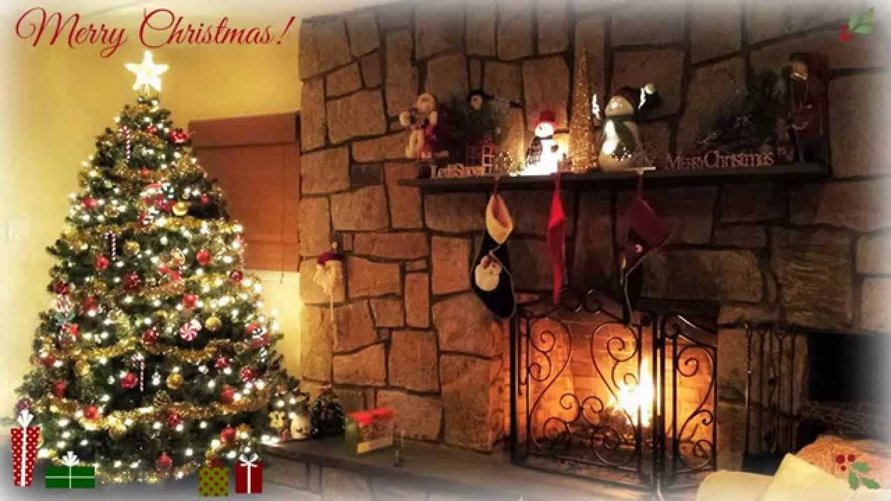 Christmas Songs With Fireplace  Christmas Songs Playlist With Cozy Fireplace