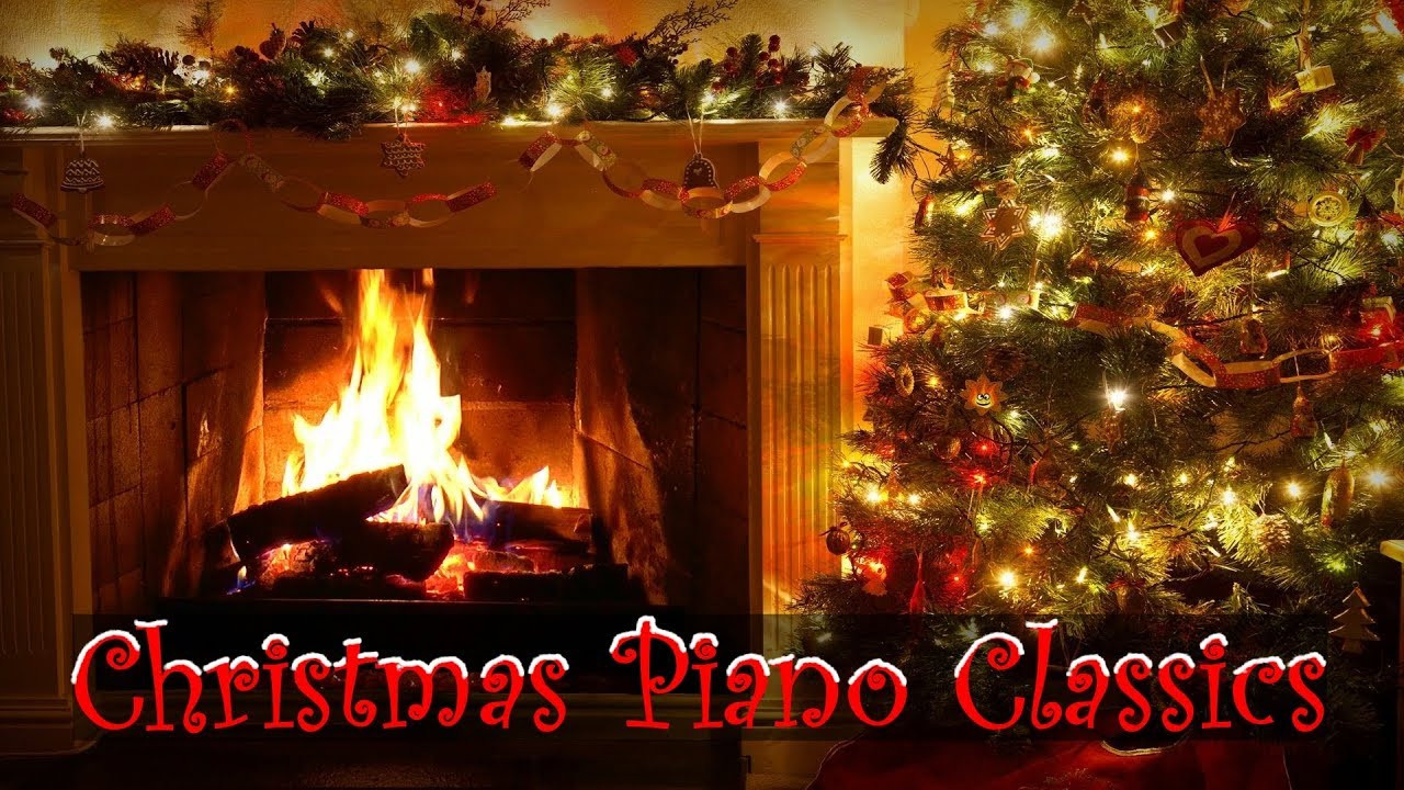 Christmas Songs With Fireplace  Christmas Piano Music with Decorated Crackling Fireplace