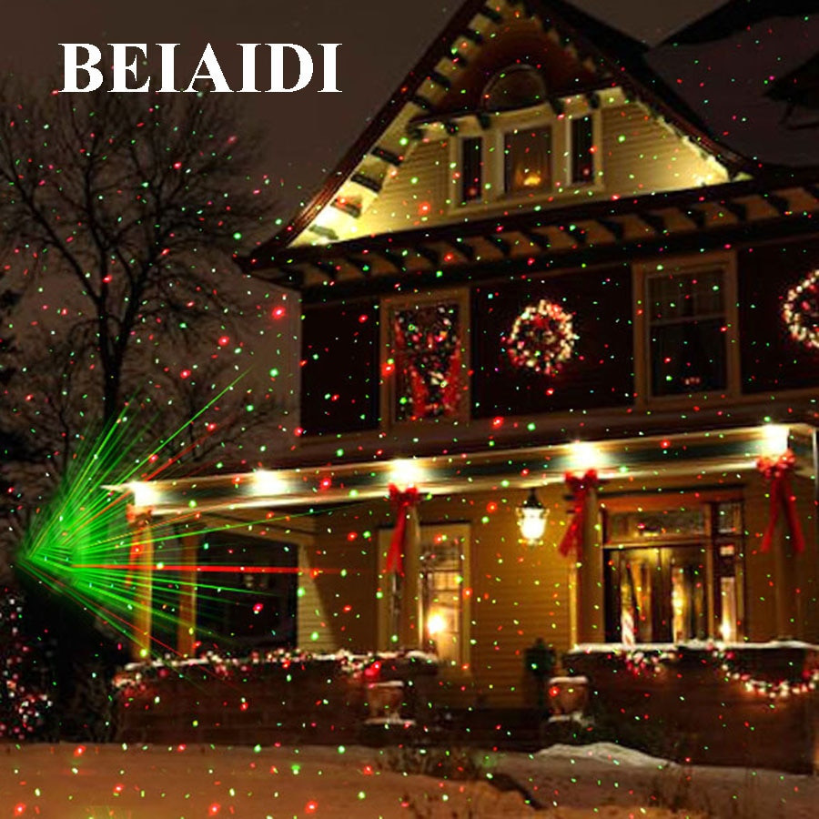 Christmas Spotlight Outdoor  BEIAIDI Christmas Outdoor Laser Projector Star Spotlight