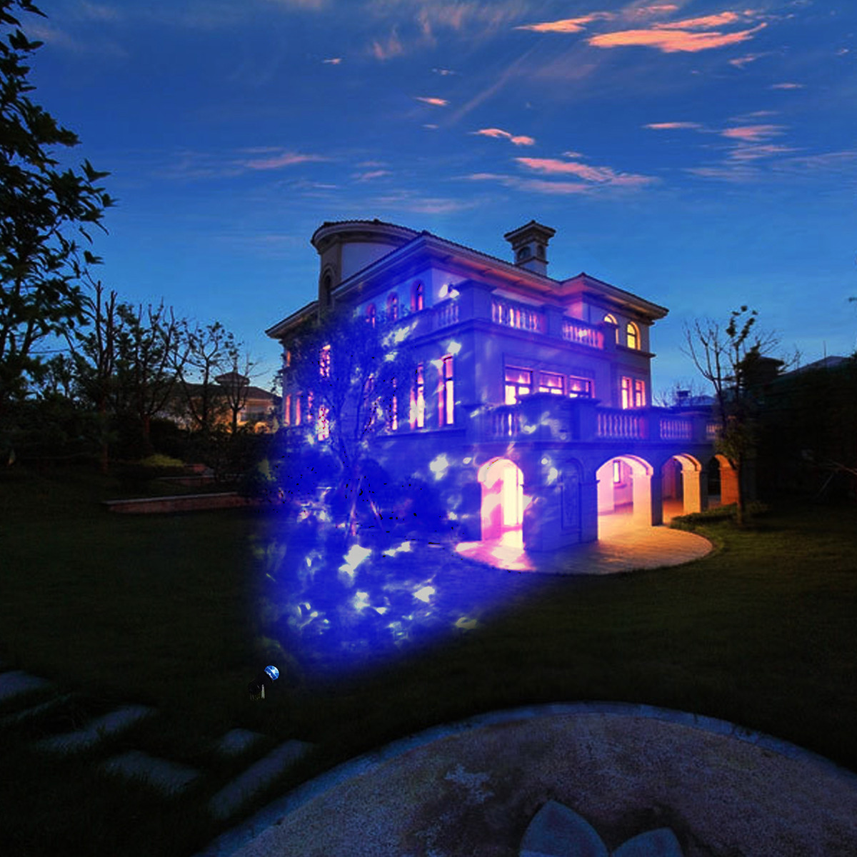 Christmas Spotlight Outdoor  LED Light Rotating Projector Home Yard Garden Holiday Xmas