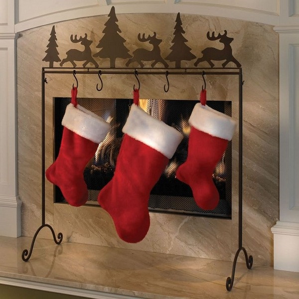 Christmas Stocking Hangers For Fireplace  Charming Christmas Stocking Holder Stands