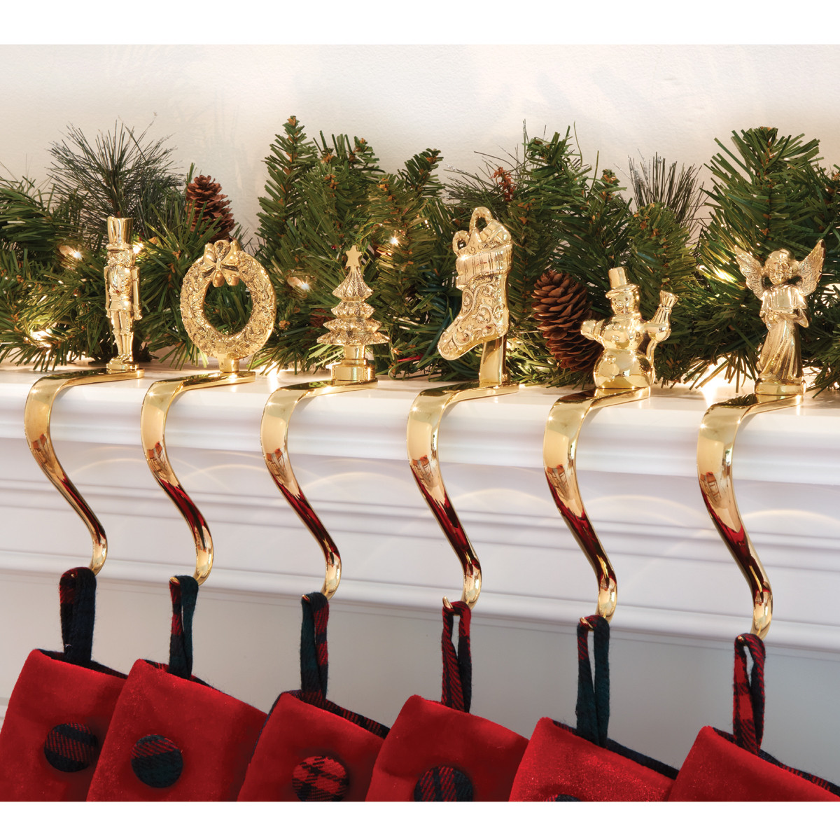 Christmas Stocking Hangers For Fireplace  Brass Stocking Holders with Design from Sporty s Tool Shop
