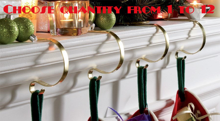 Christmas Stocking Hangers For Fireplace  MANTLE CLIP CHRISTMAS STOCKING FIREPLACE GARLAND MANTEL
