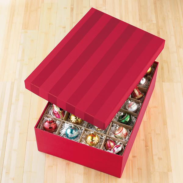 Christmas Storage Box  Red Moiré Archival Ornament Storage Box