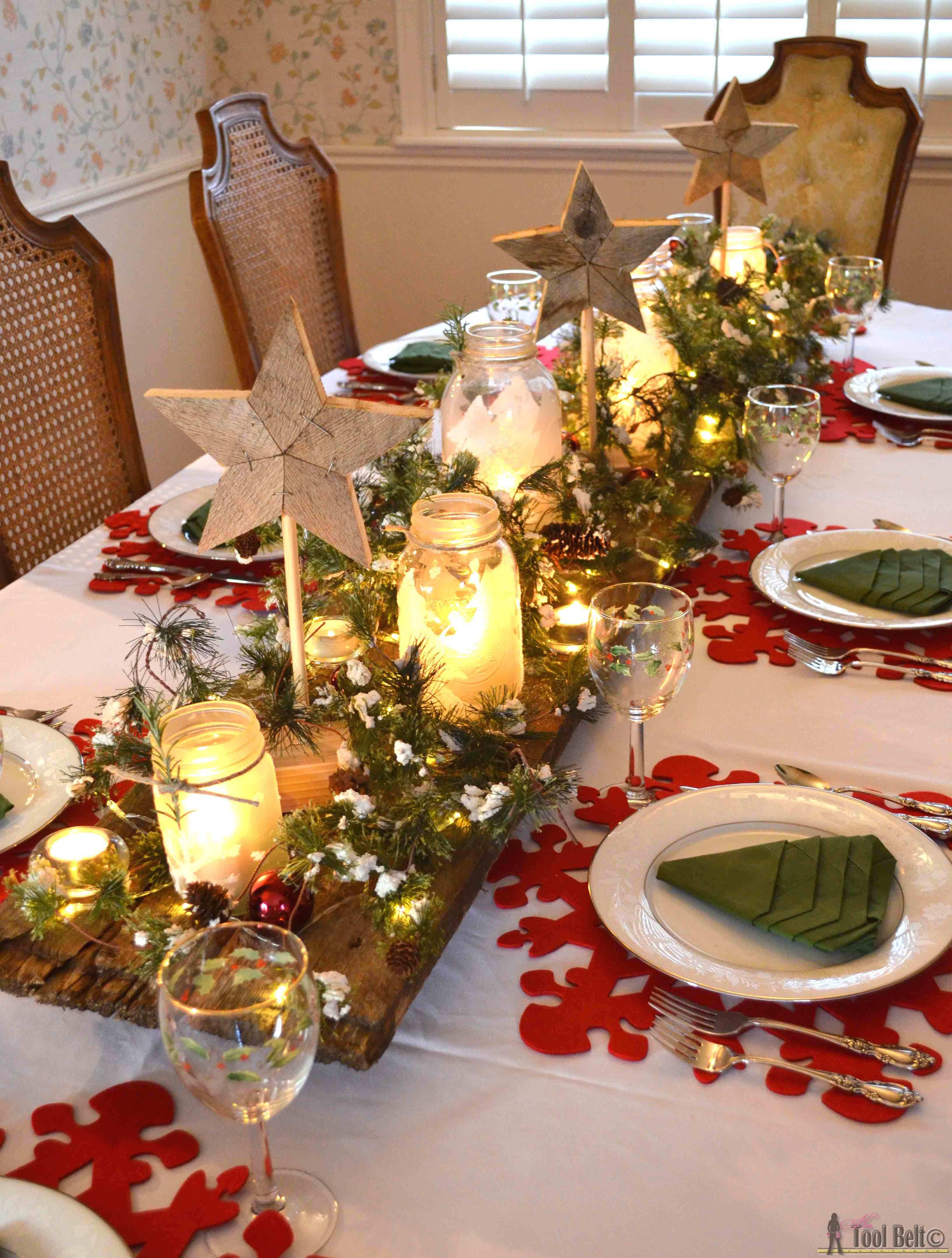 Christmas Table Decorations  Winter Wonderland Christmas Tablescape Her Tool Belt