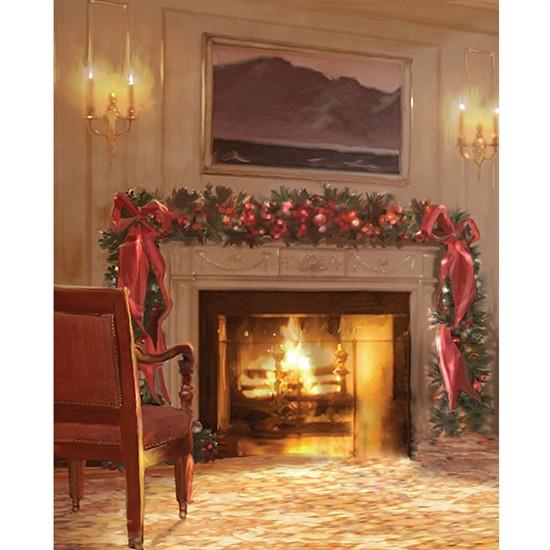 Christmas Themed Fireplace Screen  Christmas Fireplace Printed Backdrop
