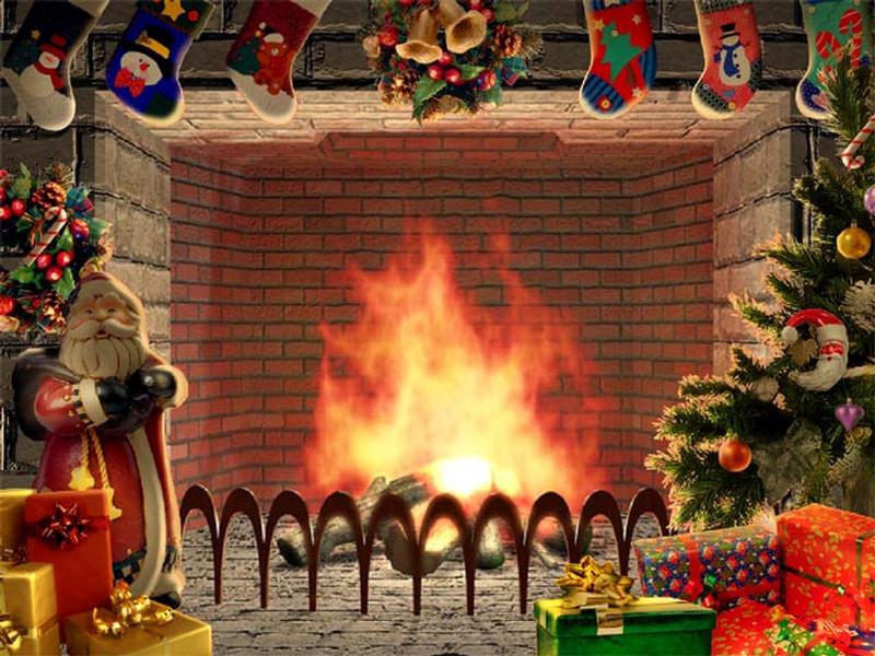 Christmas Themed Fireplace Screen  Christmas Living 3D Fireplace Screensaver
