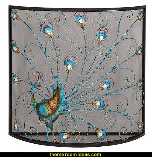Christmas Themed Fireplace Screen  Decorating theme bedrooms Maries Manor peacock color