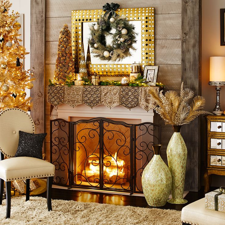 Christmas Themed Fireplace Screen  41 best Fireplace Mantel Scarves and Screens images on