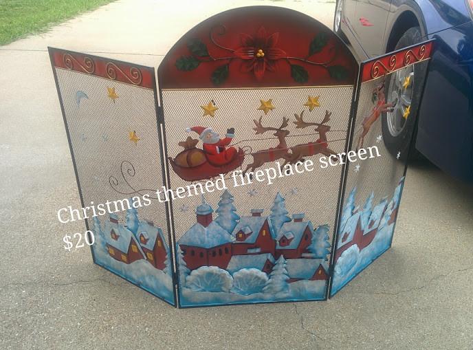Christmas Themed Fireplace Screen  Christmas Themed Fireplace Screen in BuyAllTheThings Yard