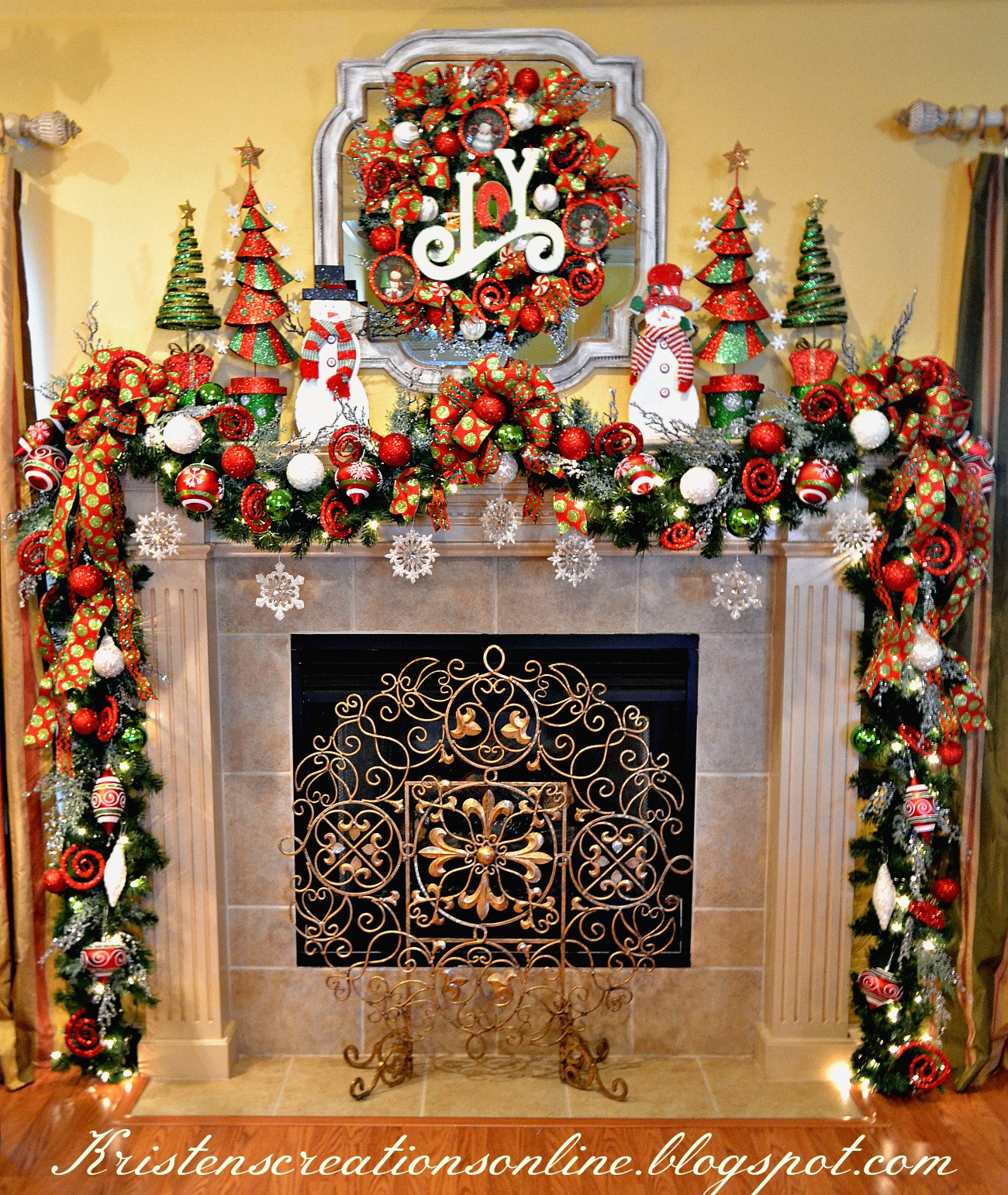 Christmas Themed Fireplace Screen  Kristen s Creations Whimsical Snowman Mantel 2015