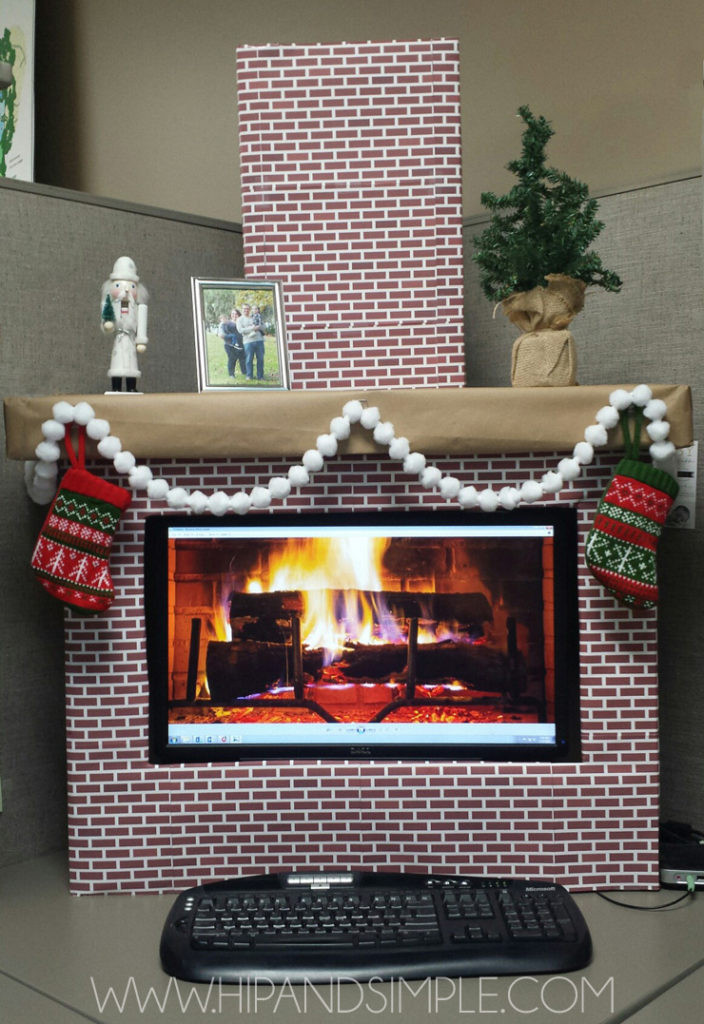 Christmas Themed Fireplace Screen  Christmas Faux Cardboard Fireplace Mantel Hip & Simple
